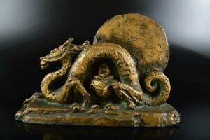 L7776: XF Japanese Copper Dragon sculpture ORNAMENTS object art work Seibo made