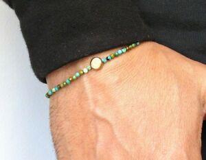 gold evil eye turquoise natural beads bracelet 14k solid genuine gemstone amulet