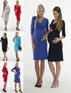 "Maternity Shirt Dress Midi Knee Length short Sleeve Stretch "" Nina"