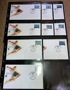 2004 Australia Australian Gold Medalists FDC Set of 17  -  Aug 2004