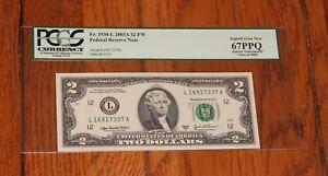 2003A $2 Two Dollar FRN L District UNC  FR 1938 PCGS 67 PPQ