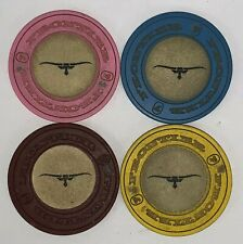 Set of 4 Vintage Frontier Casino Las Vegas Roulette Chips Gold Inlay w/ Longhorn