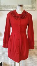People Market Edwardian Vintage 20's Frilly Red Wool Blend Jacket Size XS UK 6