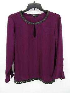 Rebel Wilson X Angels Women's Purple Long Bell Sleeve Keyhole Blouse Top Plus 1X