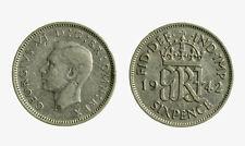 pci5034) Sixpence GIORGIO VI 1942 Silver