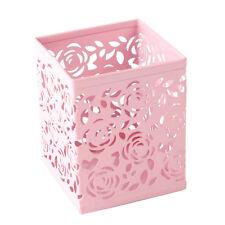 Hollow Rose Flower Metal Pen Holder Organizer Office Desk Sweet Pink