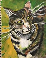 Watercolor painting of my tiger cat by artist Mark Robinson original