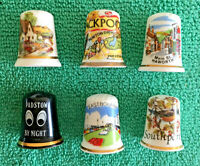 Set Of 6 English Towns Bone China Thimbles, Collectable England Places, S3