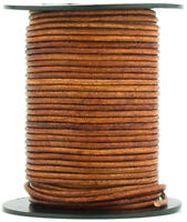 Xsotica® Brown Distressed Light Round Leather Cord 1mm 10 meters (11 yards)