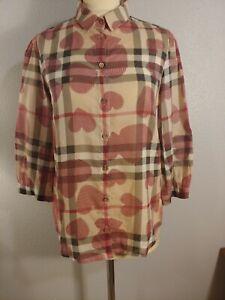 Burberry Brit Women's Button Shirt 3/4 Slv Nova Check Heart Plaid sz. M
