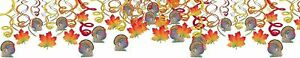 NEW Autumn Fall Turkey Thanksgiving Holiday Party Hanging Swirl Decorations