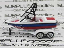 Johnny Lightning 1:64 Scale LOOSE Blue & Red Speed Fishing Boat w/Trailer Shark