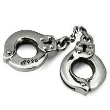 Sterling Silver Handcuffs Hand Cuffs Ohm Bead Charm AAP001
