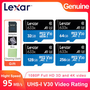 Lexar 633x 32GB 64GB 128GB 256GB micro SDHC SDXC V30 U3 Memory Card HD 4K GoPro