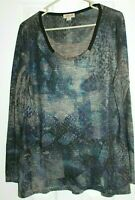 One World Long Sleeve Tunic Top Gray with Blue Print Size L