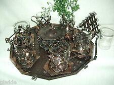 Ausgefallenes edel  Kupfer 6 Pers Teeservice Tee Service Tablett Handarbeit 1409