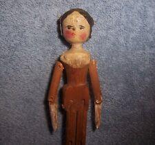 "1800s Antique Wood Grodnertal Penny Peg Doll House~Side Curls~Bun~6.5"" Dollhouse"