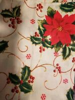CHRISTMAS HOLLY AND POINSETTIA CREAM BASED 52 X 70 TABLECLOTH