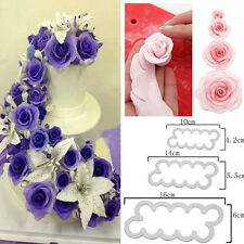 3PCS Silicone 3D Rose Flower Mould Fondant Cake Chocolate Sugarcraft Tool Decor