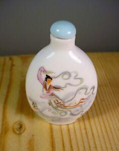 Antique Chinese Ceramic Snuff / Scent Bottle - Dancer Decoration