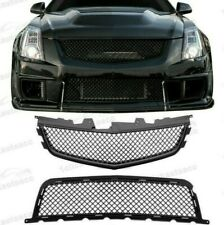 08-14 Cadillac Cts-V Front Upper/Lower Replacement Grille Combo - Matte Black (Fits: Cadillac)