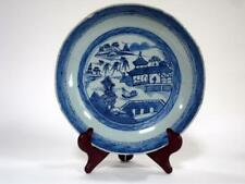 """Antique Chinese Export Blue White Porcelain Canton Round Serving Bowl 10 1/4"""""""