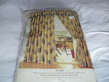 """MONTGOMERY """" NEVADA """"  PENCIL PLEAT CURTAINS GOLD.BEIGE.BLUE PATTERN (NEW)"""
