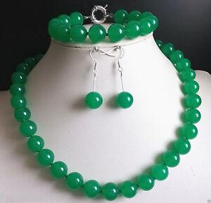 Rare 10mm Natural Green Malay Jade Round Gemstone Necklace Bracelet Earrings Set