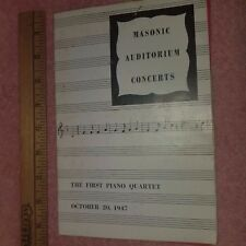 1947 Detroit Stage Program - THE FIRST PIANO QUARTET w/extras MASONIC - FreeSHIP