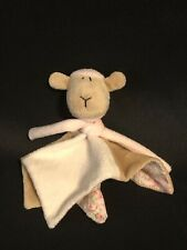 Small Floral Security Blanket with Sheep Plush • Pink Beige Cream • Scarf Lovey