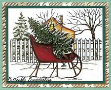 CHRISTMAS Sleigh Tree Fence Scene Wood Mounted Rubber Stamp NORTHWOODS P9911 New