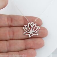 Lotus Necklace - 925 Sterling Silver - Slide Lotus Namaste Flower Jewelry Slider