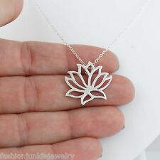 Lotus Necklace - 925 Sterling Silver - Slide Lotus Namaste Flower Jewelry Slider