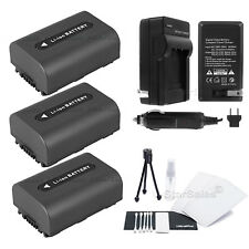 3x NP-FH50 Battery + Charger for Sony DSC-HX1 HX100 HX100V HX200 HX200V