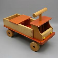 "Vtg 22"" Toy Riding Car Truck Wood Riding Wood Adjustable Wooden Seat Storage"