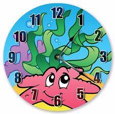 "10.5"" PINK STARFISH SEA CREATURES CLOCK - KIDS CLOCK - Large 10.5"" CLOCK 3338"