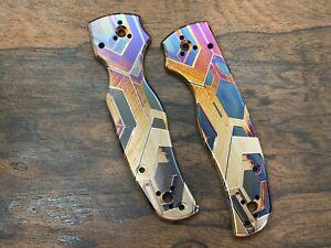 FALCON heat anodized Titanium Knife Scales for Shaman Spyderco Folding Knife