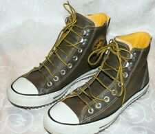 Converse Chuck Taylor All Star Brown Yellow Leather Unisex Hi Top M 8.5  W 10.5