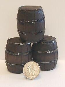 VTG Artisan made Dollhouse Miniature Wooden  Barrels Set 1:12 OOAK