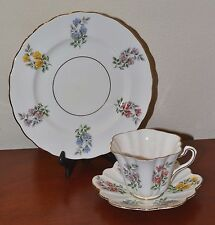 Vintage Rosina Trio, Teacup, Saucer, Plate, Art Deco Style, Wildflower Pattern