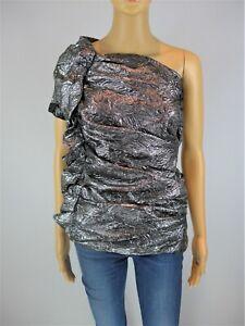 Isabel Marant silver drape wool blend one shoulder top size UK8/US4