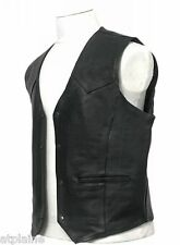 GILET CUIR CLASSIC noir doublé Taille L - Style BIKER HARLEY