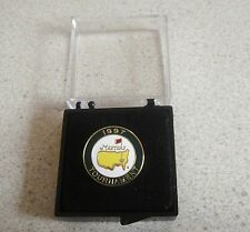U.S. MASTERS 1997 WON BY TIGER WOODS  STEMMED OR FLAT GOLF BALL MARKER & CASE