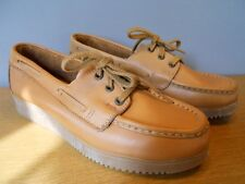 Nos Vintage 1970s Kinney Tan Loafer Shoes Wedge Crepe Sole Moccasin Retro 7.5