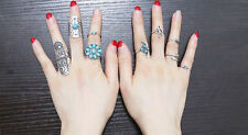 New 9pcs Retro Turquoise Tibet 925 Silver Ring Women Geometry Finger Band Rings