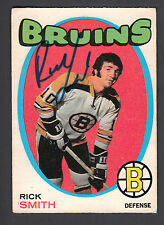 Rick Smith Hand Signed 1971-72 O-Pee-Chee Hockey Card #174 Bruins In Person Auto