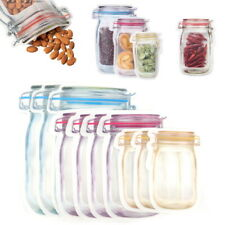 10/20/30 Mason Jar Zipper Bag Food Storage Snack Sandwich Ziplock Reusable Seal