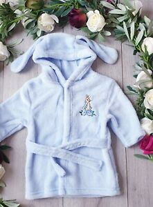 BABY BOYS PETER RABBIT DRESSING GOWN ROBE SUPER SOFT & FLUFFY