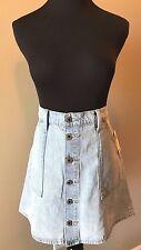 Lucky Brand Light Blue Denim Button Front Utility Mini Skirt size 8 NWT $99 SK5
