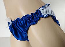 Sapphire Blue SILK Frilly Knickers Bikini Panties UK L Suit 14-16